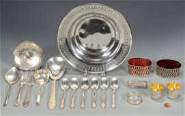 Assd. Silver Hollowware, Flatware, 19 items