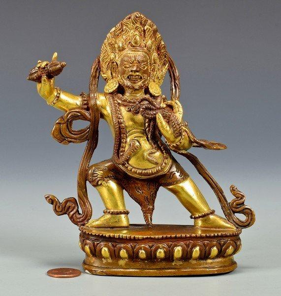Gilt Bronze Sculpture, Vajrapani or Bodhisattava