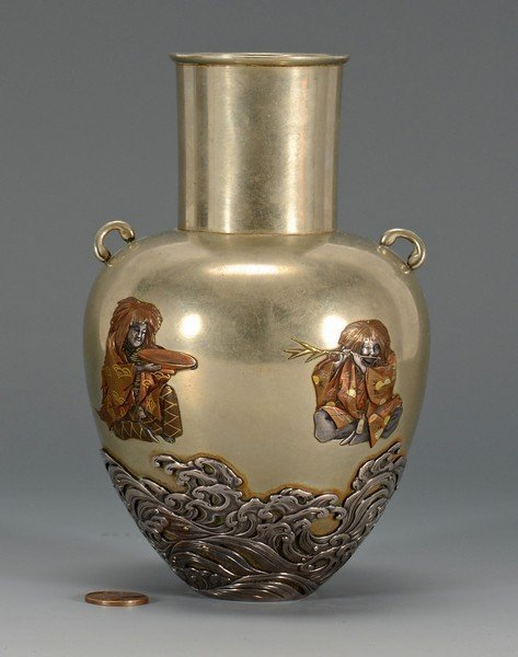 Japanese Meiji Mixed Metals Vase