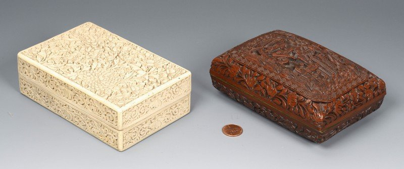 2 Chinese Carved Lacquer Boxes