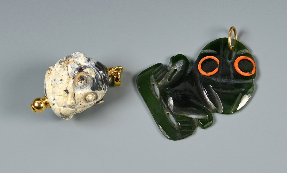2 Carved Jade Figural Pendants w/ gold