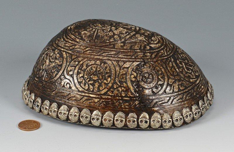 Tibetan Silver Mounted Skull Bowl