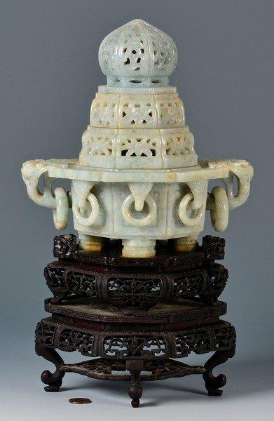 Chinese Carved Jade Censer Lamp