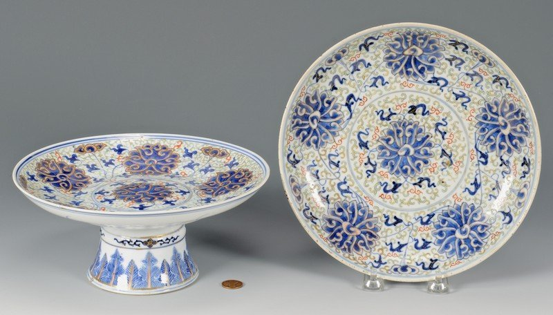 Chinese Famille Verte Compote & Plate