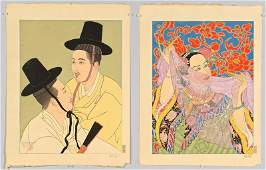 2 Paul Jacoulet Colored Woodblocks