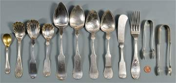 12 pcs assorted Memphis coin silver flatware
