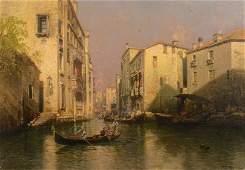 Hermann Herzog Venetian Oil on Canvas