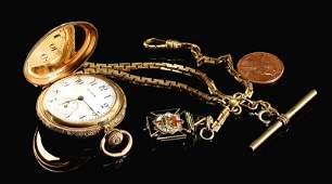 14k Elgin Hunting Case watch w/ 14k Masonic Charm