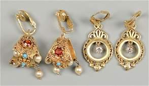 2 Pr 14K Earrings w/ Diamonds & other