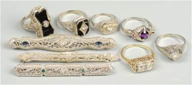 9 Vintage 10k18k Rings  Bar Pins