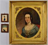 19th c Portrait of Young Lady w miniatures