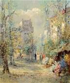 Willi Bauer Oil on Canvas, Flower Market