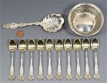 10 Tiffany Demitasse Spoons Holly plus 2 pcs