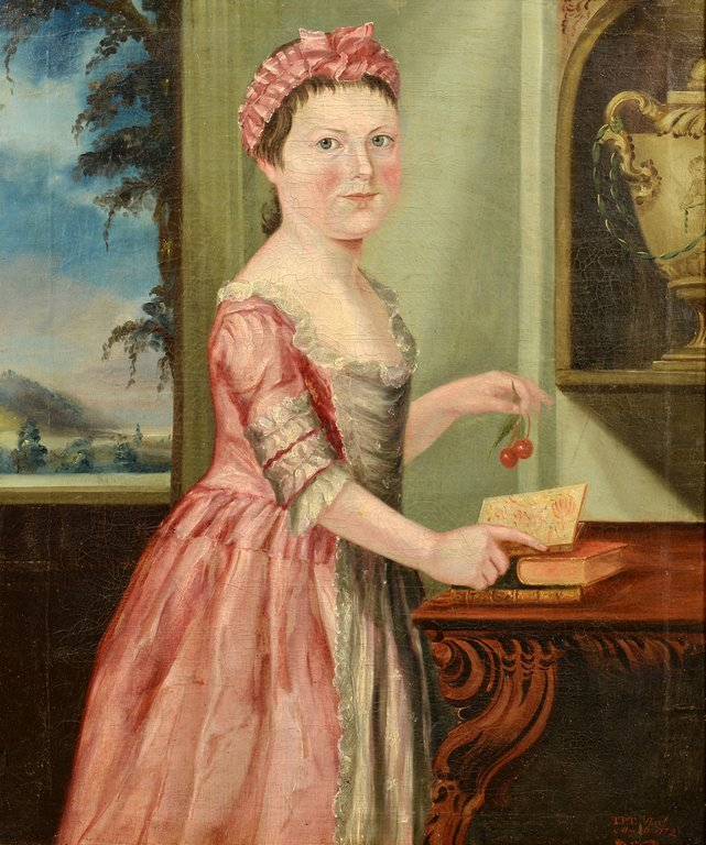 18th c. Portrait of a Girl, Signed