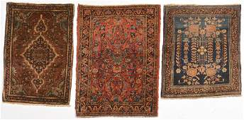 Three Sarouk Mats 1st half 20th c
