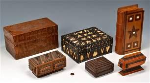 6 Folk Art Boxes incl Tramp Art