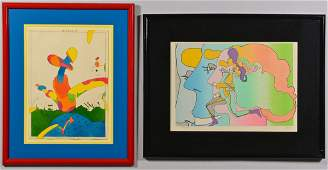 2 works on paper incl Peter Max