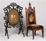 2 American Gothic Furniture Items, Chair & Screen