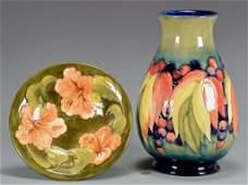 2 Pcs. Moorcroft Pottery, Vase & Bowl