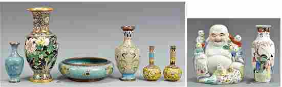 Group Chinese Porcelain  Cloisonne Items 8 total