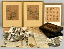 Peking 1912 Archive in 2 lacquer boxes, plus paintings