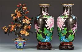 Group of Cloisonne, Pr. Vases & Planter, 3 items