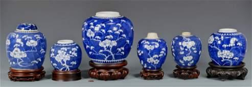 6 Chinese Porcelain Hawthorne Pattern Ginger Jars
