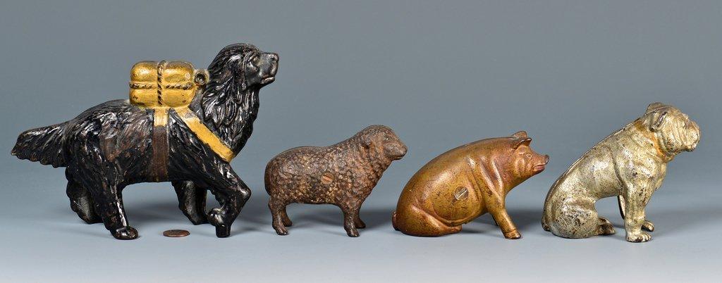 4 Figural Cast Iron Banks