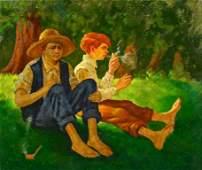 American Genre painting boys smoking