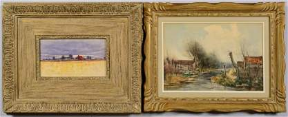 2 Signed Watercolors Rural Landscapes late 19th