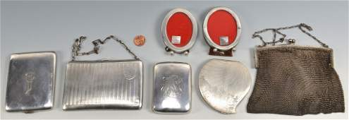 7 Misc Silver Items incl Purses Card Cases