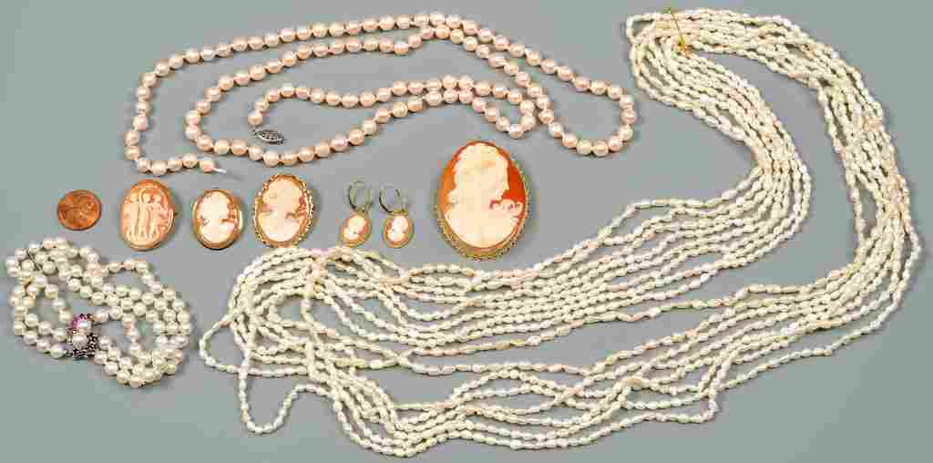Group 14K Pearl and Cameo Jewelry