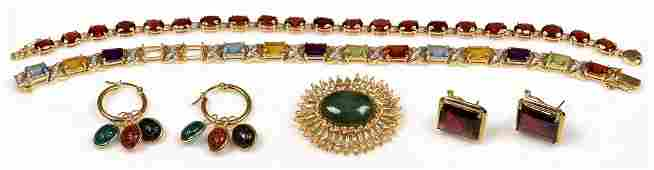 Grouping of 14K  Colored Stone Jewelry