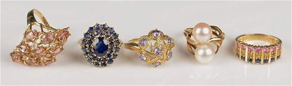 4 14K Yellow Gold Ladies Rings; 1 10K