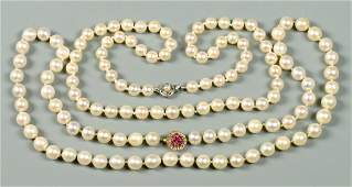 2 Pearl Necklaces w 14K Gold Clasps