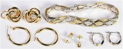 Group 14K Earrings and Bracelet