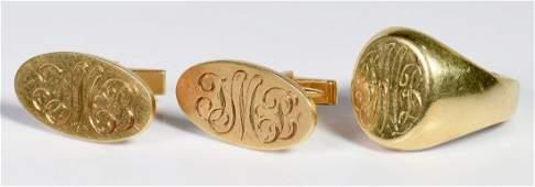 14K Signet Ring and Cufflinks