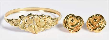 Two Items Gold Flower Jewelry
