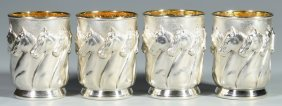 "4 Galmer Sterling ""horses"" Julep Cups"