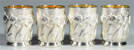 """4 Galmer Sterling """"Horses"""" Julep Cups"""