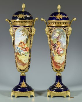 Pair Bronze Mounted Sevres Style Vases