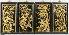 4 Chinese Carved Gilt & Lacquer Wall Panels