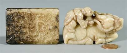 Chinese Black & White Carved Jade Pendant & Jade Figure