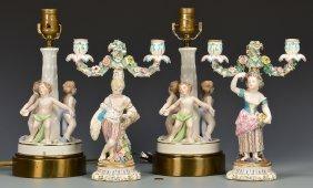 Pr. German Figural Candelabra & European Lamps
