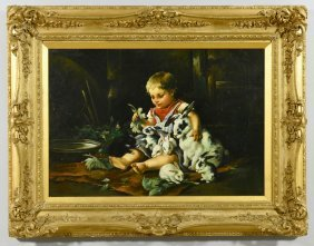 Oil On Canvas Of Child And Rabbits