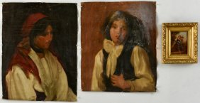 2 Continental Portraits And 1 Oil On Board