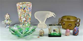 Group of Art Glass Items, 9 pcs.