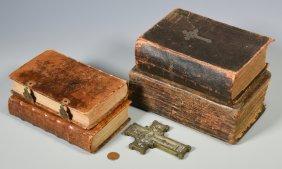 4 Early German American Religious Books + Bronze Cross