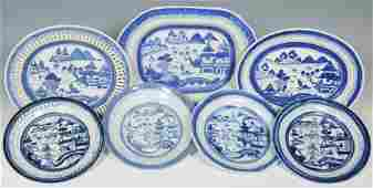 7 Chinese Blue & White Export Canton Pcs.