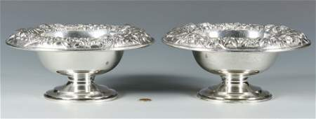 Pair S. Kirk & Son Repousse Sterling Compotes